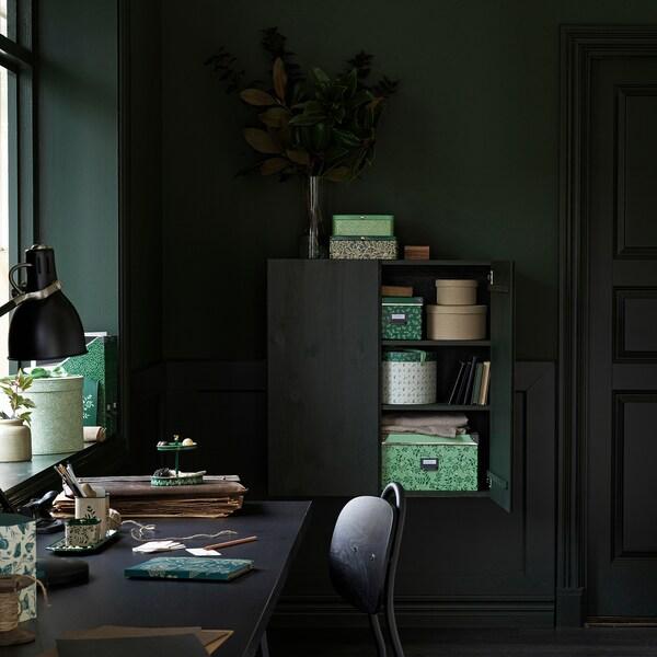 アンニリナレ ボックス2個セット 丸形/グリーン フローラルパターン