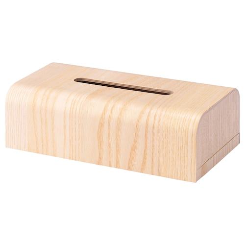 アスプダーゲン ティッシュボックス アッシュ材突き板 28 cm 14 cm 9 cm