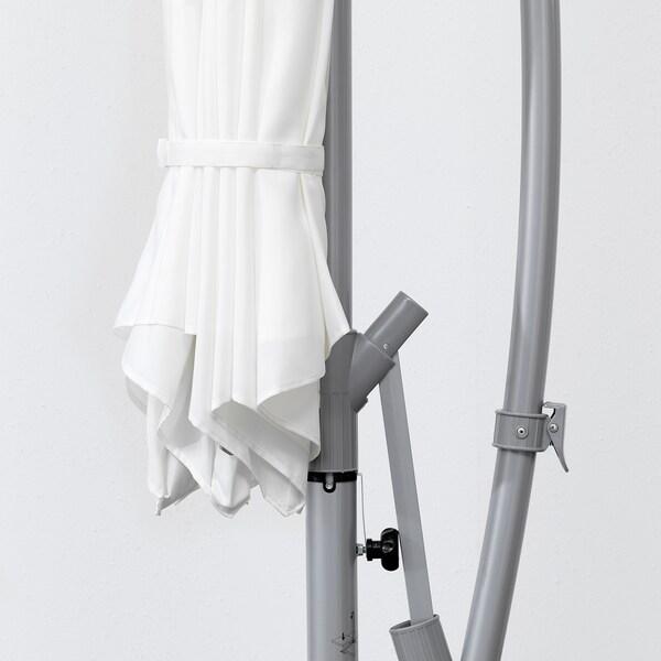 BAGGÖN バッゴーン / SVARTÖ スヴァルトー ハンギングパラソル ベース付き, ホワイト/ダークグレー