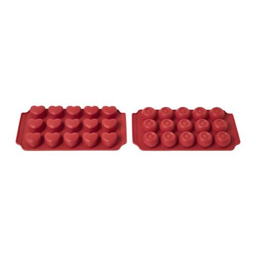 BAKGLAD チョコレート型 IKEA お手製のチョコレート菓子が簡単につくれます。お好みでチョコの中にヌガーやナッツを入れて自由にアレンジしてみましょう やわらかくて柔軟性のあるシリコン製なので、チョコレートを割らずに簡単に取り出せます