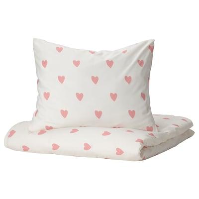 BARNDRÖM バーンドローム 掛け布団カバー&枕カバー, ハート模様 ホワイト/ピンク, 150x200/50x60 cm