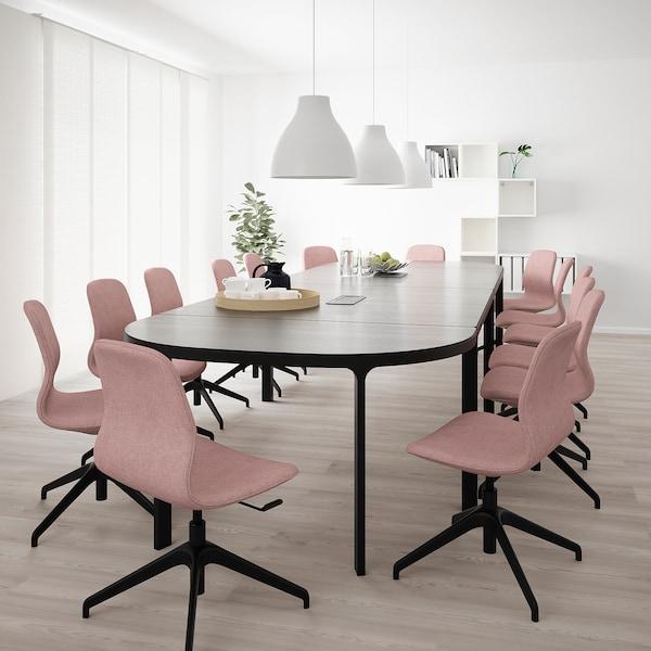 BEKANT ベカント 会議用テーブル, ブラックステインアッシュ材突き板 ブラック, 280x140 cm