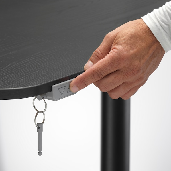 BEKANT ベカント コーナーデスク 右 電動昇降式, ブラックステインアッシュ材突き板 ブラック, 160x110 cm