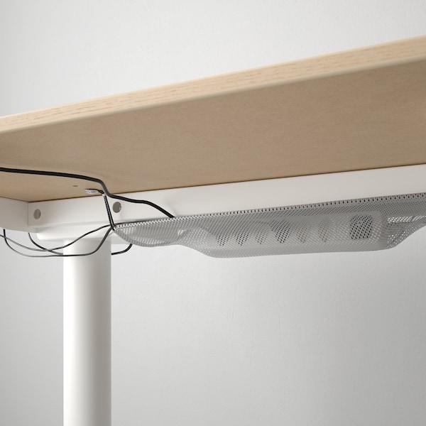 BEKANT ベカント デスク 昇降式, ホワイトステインオーク材突き板/ホワイト, 160x80 cm
