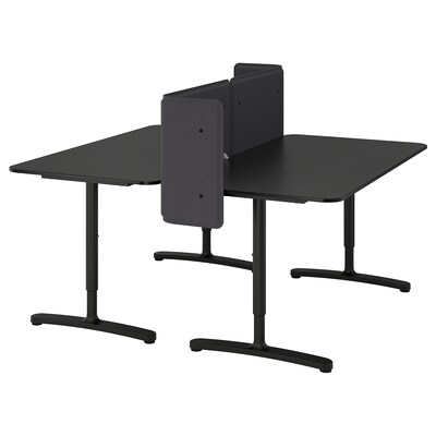 BEKANT ベカント デスク スクリーン付き, ブラックステインアッシュ材突き板/ブラック, 160x160 55 cm