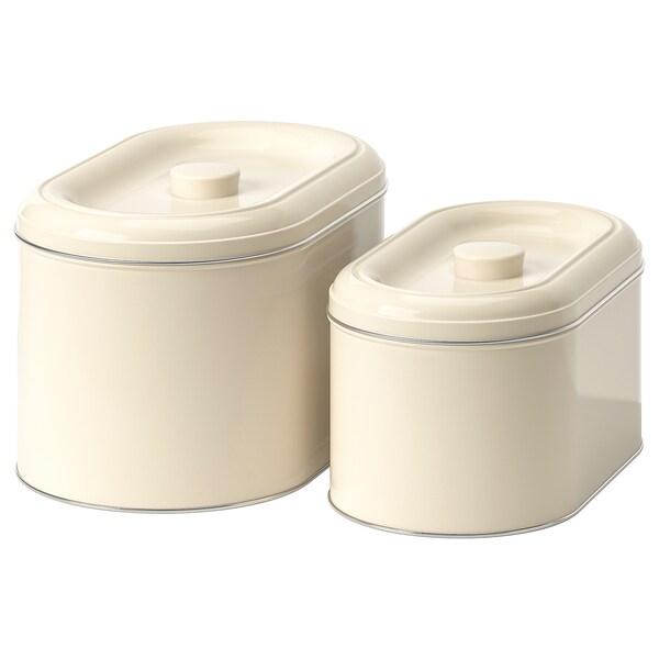 BERÖMLIG ベロームリグ 缶 ふた付き 2個セット, ベージュ