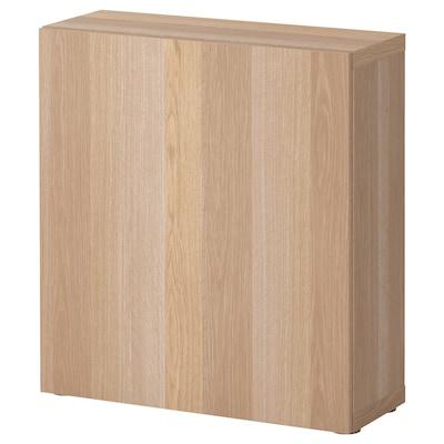 BESTÅ ベストー シェルフユニット 扉付, ホワイトステインオーク調/ラップヴィーケン ホワイトステインオーク調, 60x22x64 cm