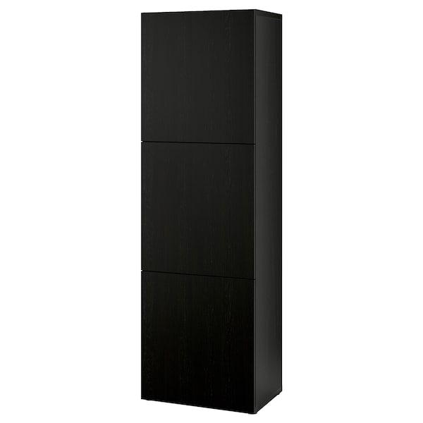 BESTÅ ベストー シェルフユニット 扉付, ブラックブラウン/ラップヴィーケン ブラックブラウン, 60x42x193 cm