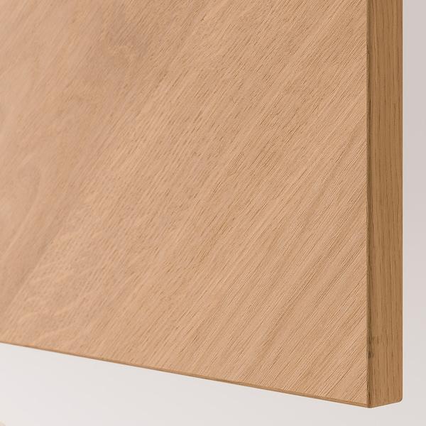 BESTÅ ベストー シェルフユニット 扉付, ホワイト/ヘデヴィーケン オーク材突き板, 120x42x38 cm