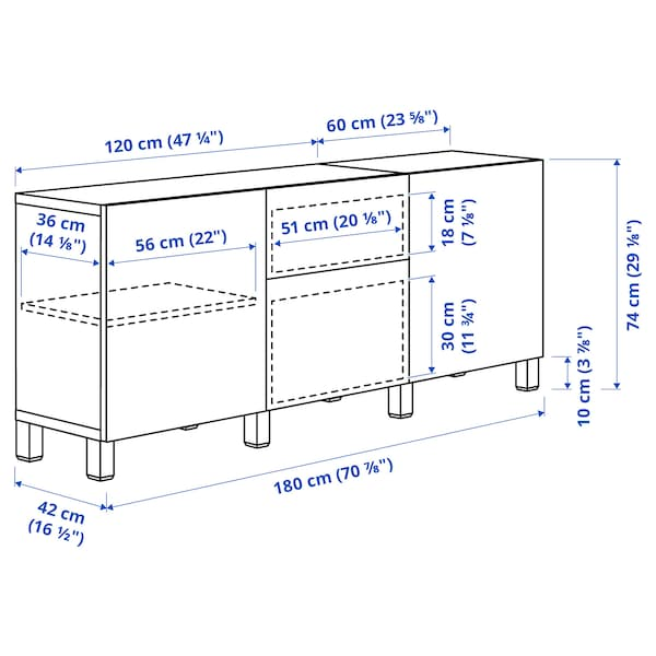 BESTÅ ベストー 収納コンビネーション 引き出し付, ホワイト カルヴィーケン/ライトグレー コンクリート調, 180x42x74 cm