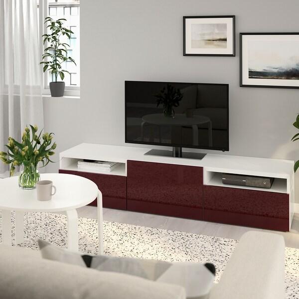 BESTÅ ベストー テレビ台, ホワイト セルスヴィーケン/ハイグロス ダークレッドブラウン, 180x42x39 cm