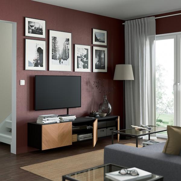 BESTÅ ベストー テレビ台 扉付き, ブラックブラウン/ヘデヴィーケン オーク材突き板, 180x42x38 cm