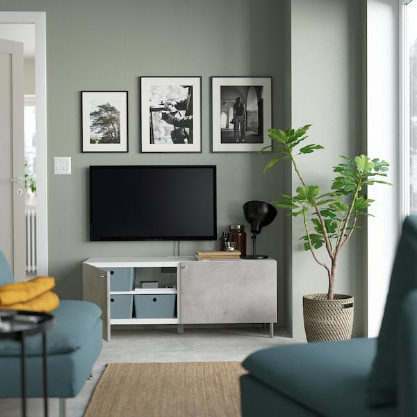 BESTÅ ベストー テレビ台 扉付き, ホワイト/カルヴィーケン/オサルプ ライトグレー, 120x42x48 cm