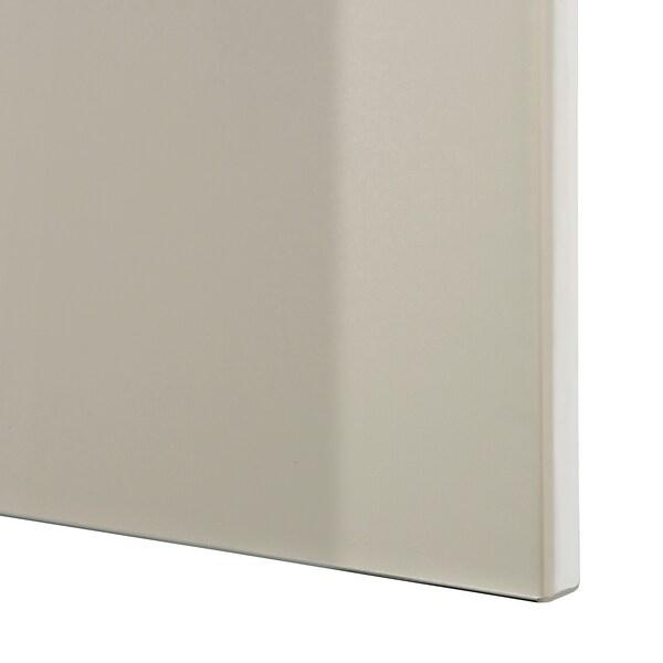 BESTÅ ベストー テレビボード/ガラス扉, ブラックブラウン/セルスヴィーケン ハイグロス/ベージュ クリアガラス, 300x42x211 cm