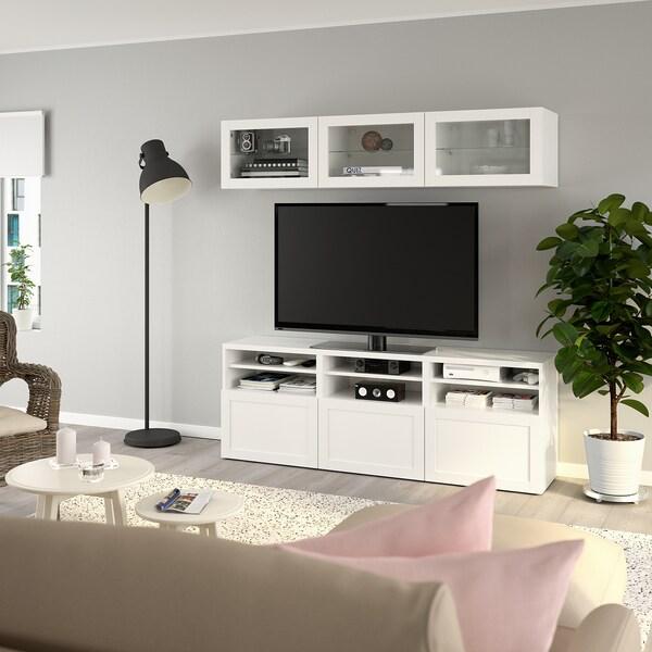 BESTÅ ベストー テレビボード/ガラス扉, ハンヴィーケン ホワイトクリアガラス, 180x40x192 cm