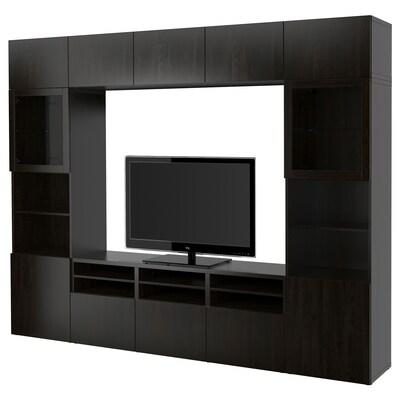 ベストー テレビボード/ガラス扉, ラップヴィーケン/シンドヴィーク ブラックブラウンクリアガラス, 300x40x230 cm