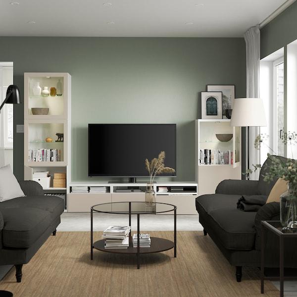 BESTÅ ベストー テレビボード/ガラス扉, ホワイト シンドヴィーク/ラップヴィーケン ライトグレー/ベージュ, 300x42x193 cm