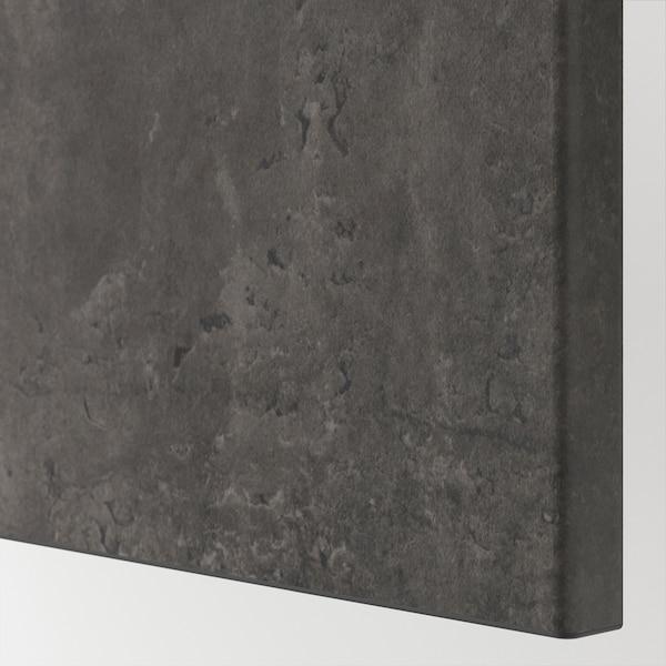 BESTÅ ベストー ウォールキャビネット 扉2枚付き, ブラックブラウン カルヴィーケン/ダークグレー コンクリート調, 60x22x128 cm