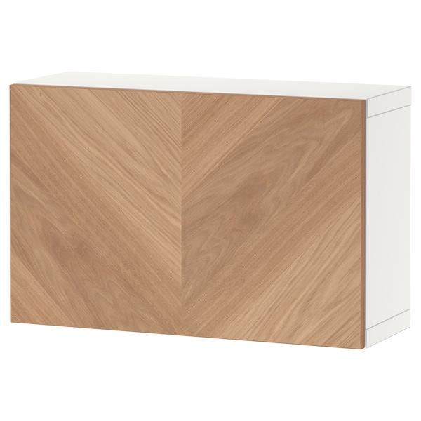 BESTÅ ベストー 壁取り付け式キャビネットコンビネーション, ホワイト/ヘデヴィーケン オーク材突き板, 60x22x38 cm