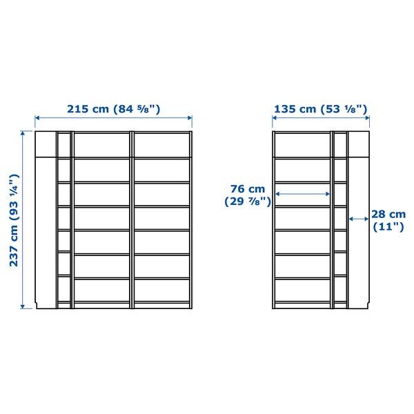 BILLY ビリー 本棚, ブラウン アッシュ材突き板, 215/135x28x237 cm