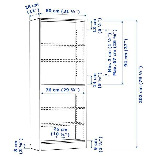 BILLY ビリー 本棚, ブラウン アッシュ材突き板, 80x28x202 cm