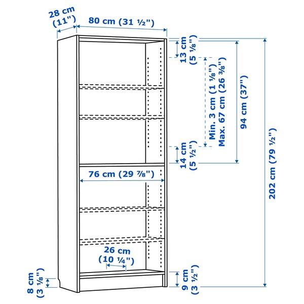 BILLY ビリー 本棚, ホワイトステインオーク材突き板, 80x28x202 cm