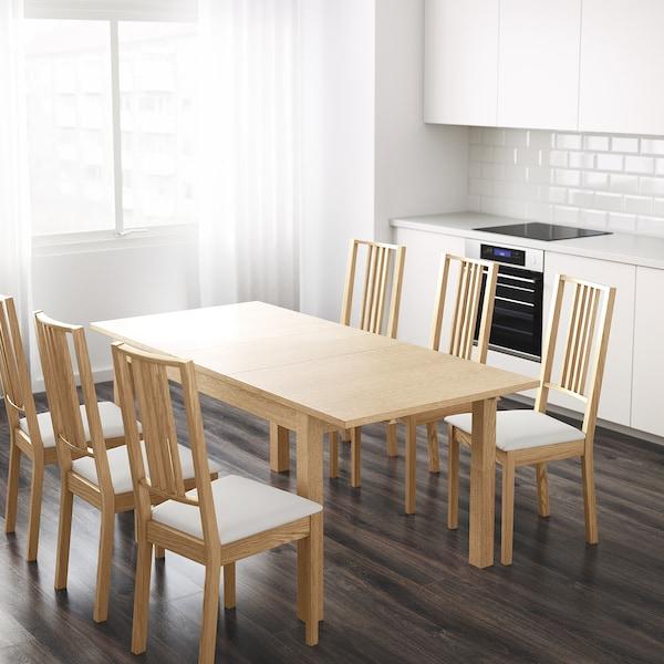 BJURSTA ビュースタ 伸長式テーブル, オーク材突き板, 140/180/220x84 cm