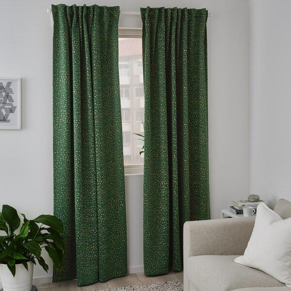 BLÅBÄRSMOTT ブロベールスモット 遮光カーテン1組, グリーン, 145x250 cm