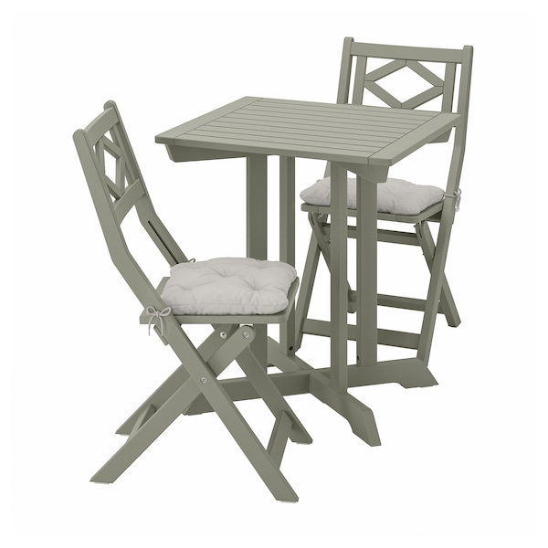 BONDHOLMEN ボンドホルメン テーブル+折りたたみチェア2 屋外用, グレーステイン/クッダルナ グレー