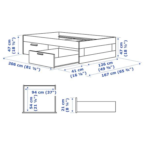 BRIMNES ブリムネス ベッドフレーム 収納付き, ホワイト/ルーローイ, 120x200 cm