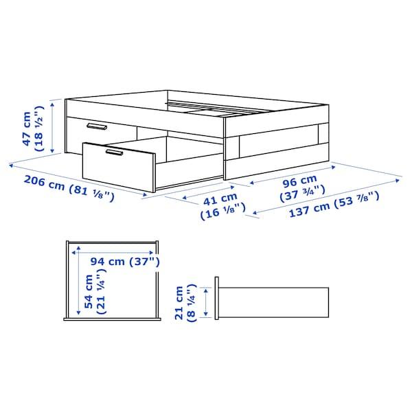 BRIMNES ブリムネス ベッドフレーム 収納付き, ホワイト/ルーローイ, 90x200 cm