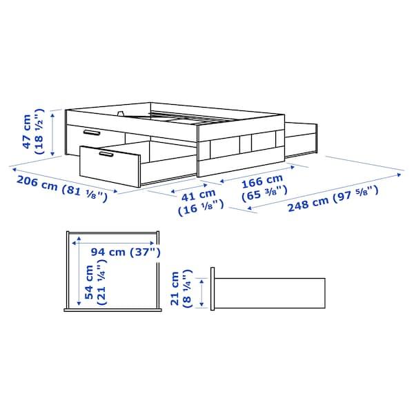 BRIMNES ブリムネス ベッドフレーム 収納付き, ホワイト/ルーローイ, 160x200 cm