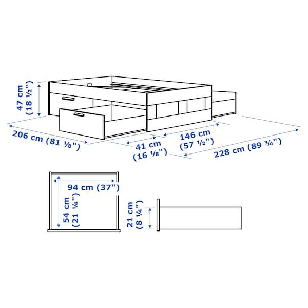 BRIMNES ブリムネス ベッドフレーム 収納付き, ホワイト/ルーローイ, 140x200 cm