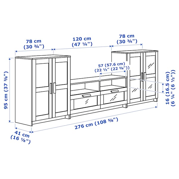 BRIMNES ブリムネス テレビボード/ガラス扉, ホワイト, 276x41x95 cm
