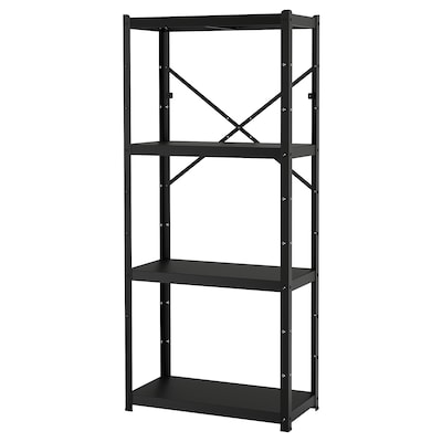 BROR ブロール 1セクション/棚板, ブラック, 85x40x190 cm
