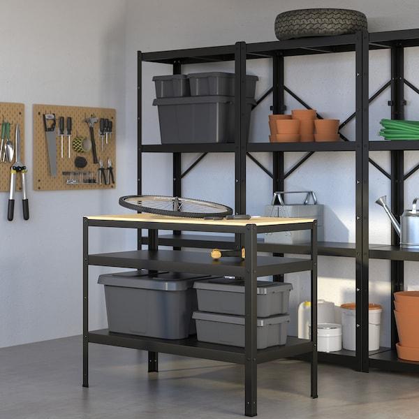 BROR ブロール 作業台, ブラック/パイン材合板, 110x55 cm