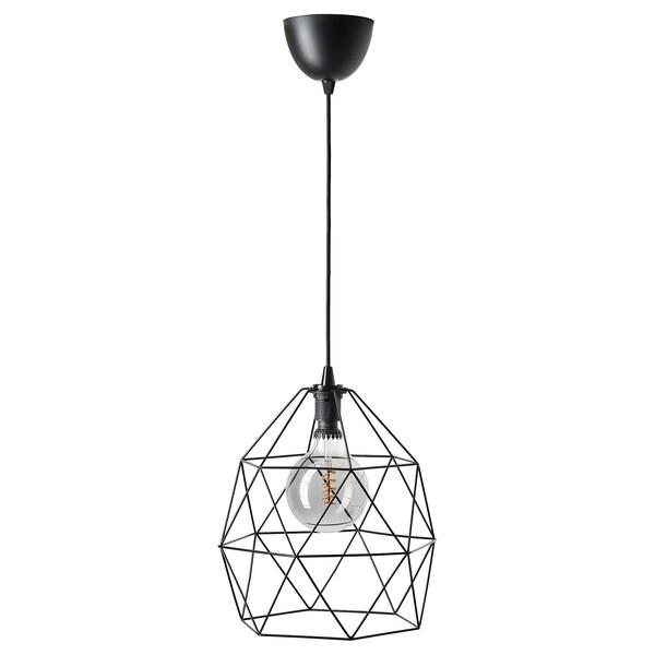 BRUNSTA ブルンスタ / ROLLSBO ロルスボ ペンダントランプ 電球付き, ブラック/球形 グレークリアガラス, 200 ルーメンx125 mm