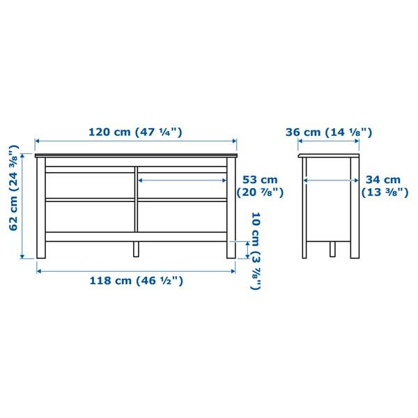 BRUSALI ブルサリ テレビ台, ホワイト, 120x36x62 cm