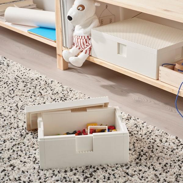 BYGGLEK ビッグレク レゴ®ボックス ふた付き, ホワイト, 26x18x12 cm