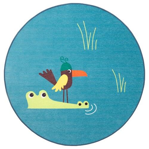 ジュンゲルスコグ ラグ 平織り 鳥/ブルー 100 cm 0.79 m²