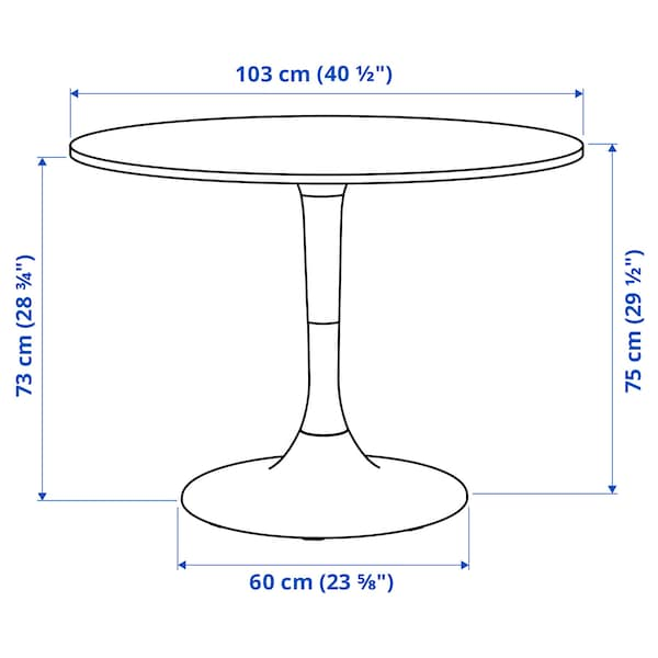 DOCKSTA ドクスタ テーブル, ホワイト/ホワイト, 103 cm