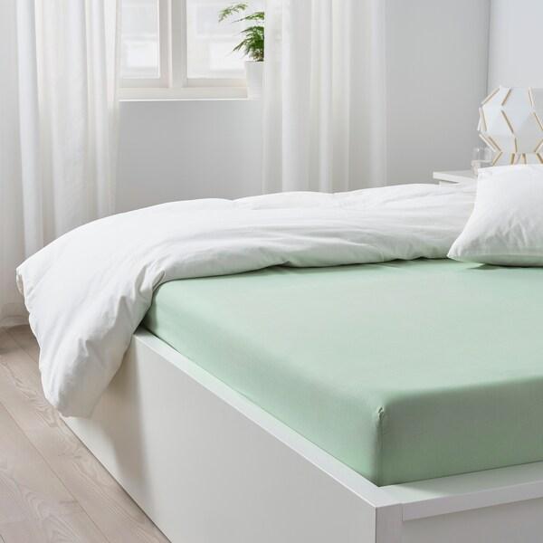 DVALA ドヴァーラ ボックスシーツ, ライトグリーン, 140x200 cm