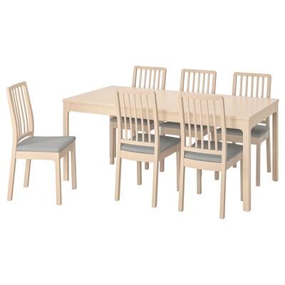 EKEDALEN エーケダーレン / EKEDALEN エーケダーレン テーブル&チェア6脚, バーチ/オッルスタ ライトグレー, 180/240 cm