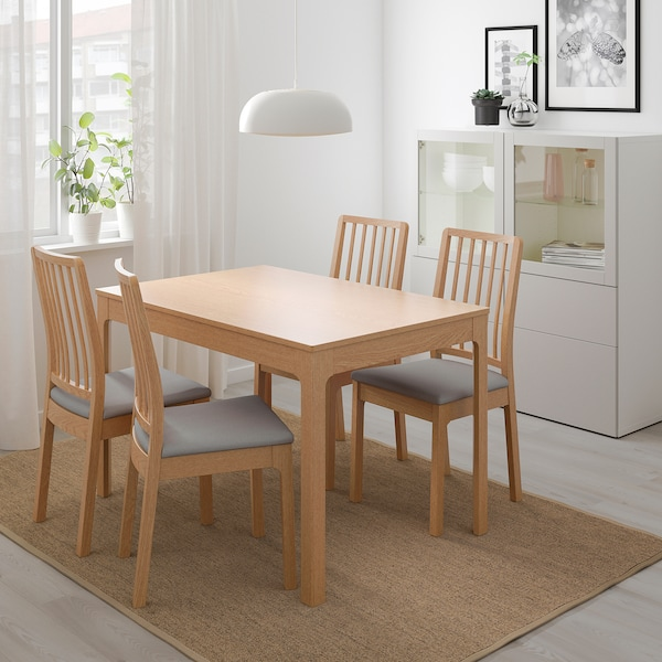 EKEDALEN エーケダーレン 伸長式テーブル, オーク, 120/180x80 cm