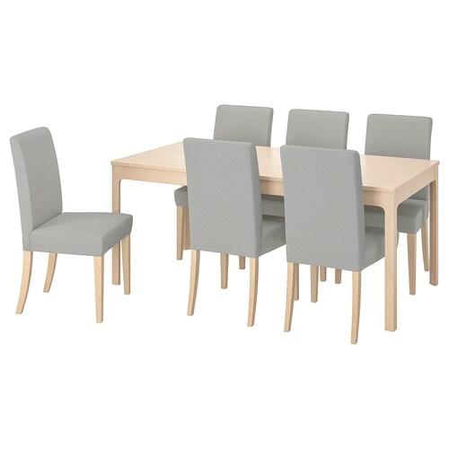 エーケダーレン / ヘンリクスダール テーブル&チェア6脚 バーチ/オッルスタ ライトグレー 180 cm 240 cm