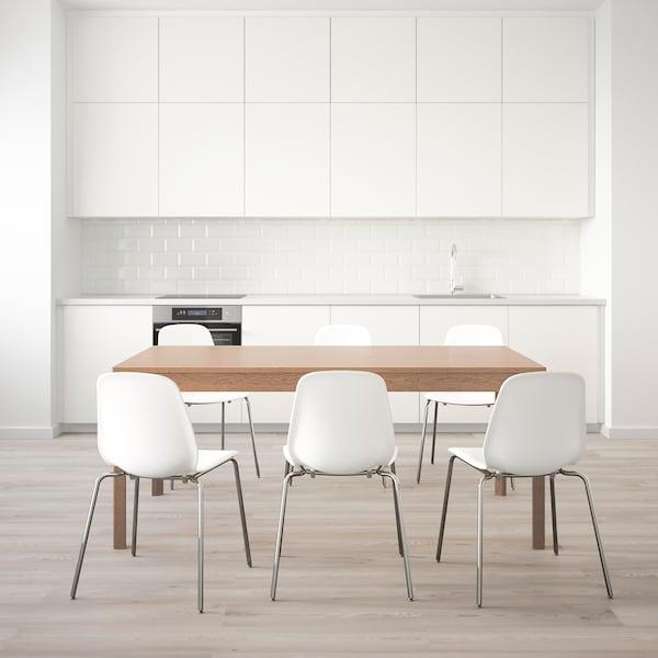 EKEDALEN エーケダーレン / LEIFARNE レイフアルネ テーブル&チェア6脚, オーク/ホワイト, 180/240 cm