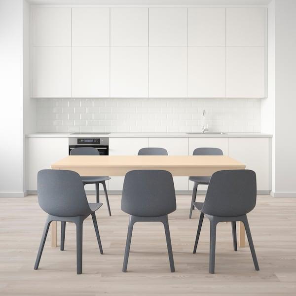 EKEDALEN エーケダーレン / ODGER オドゲル テーブル&チェア6脚, バーチ/ブルー, 180/240 cm