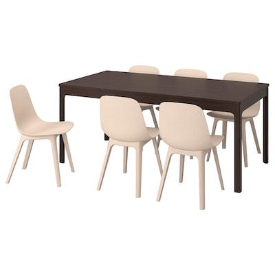 EKEDALEN エーケダーレン / ODGER オドゲル テーブル&チェア6脚, ダークブラウン/ホワイト ベージュ, 180/240 cm