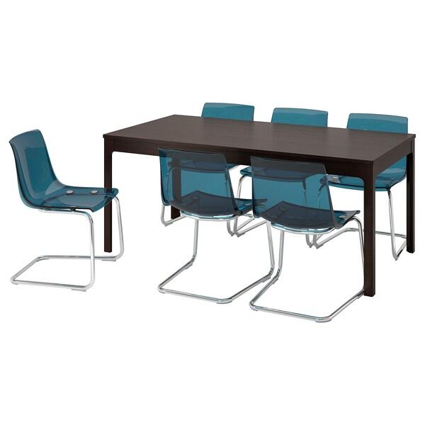 EKEDALEN エーケダーレン / TOBIAS トービアス テーブル&チェア6脚, ダークブラウン/ブルー, 180/240 cm