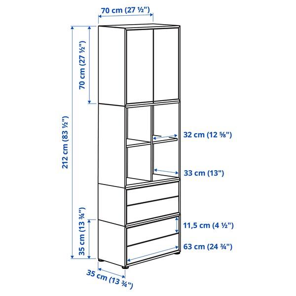 EKET エーケト キャビネットコンビネーション 足付き, ホワイト/ライトグレー, 70x35x212 cm